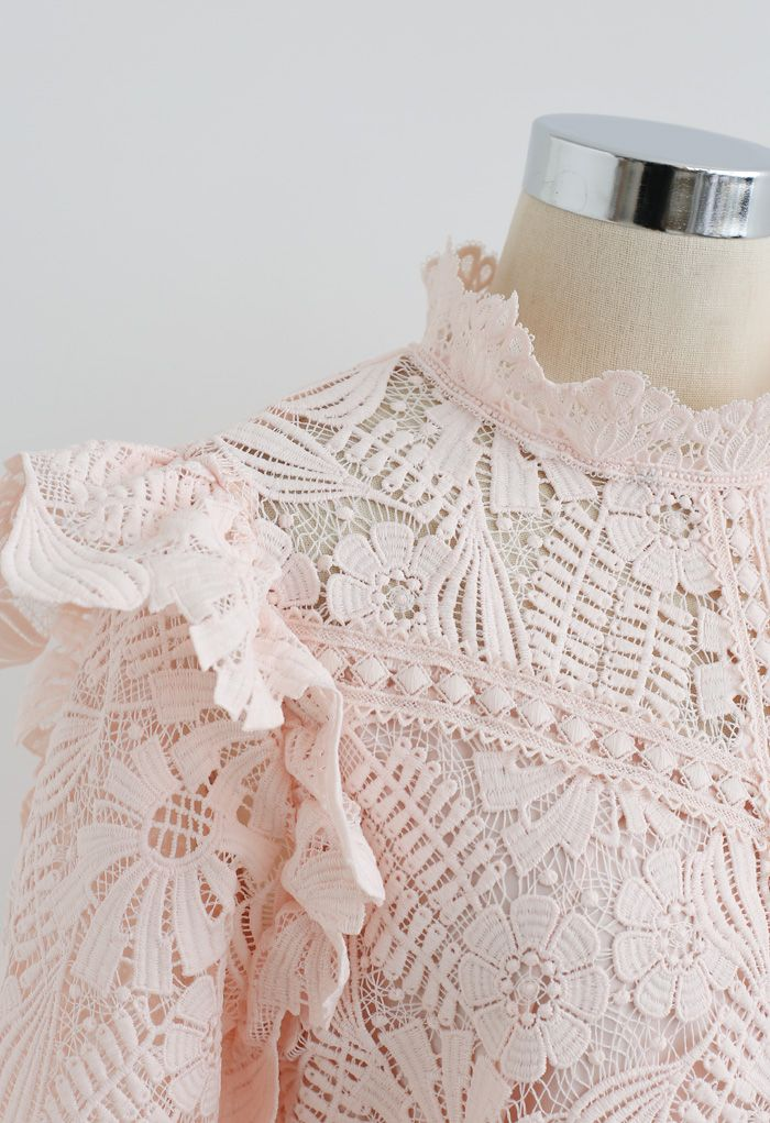 Panelled Sunflower Ruffle Crochet Top in Pink