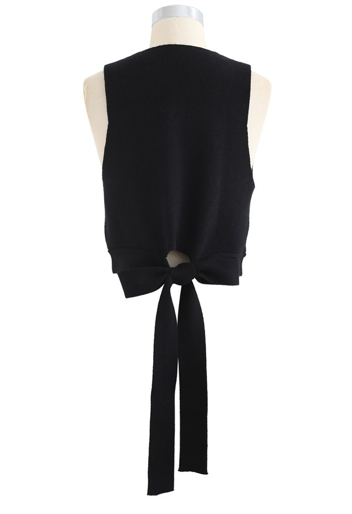 Bowknot Back V-Neck Crop Knit Vest in Black
