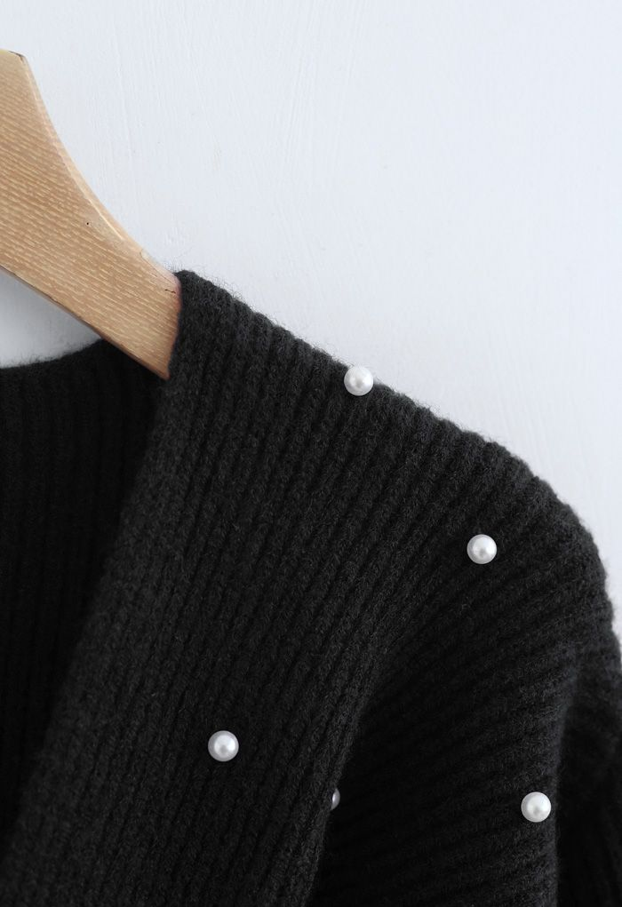 Twist Front Pearl Rib Knit Sweater in Black