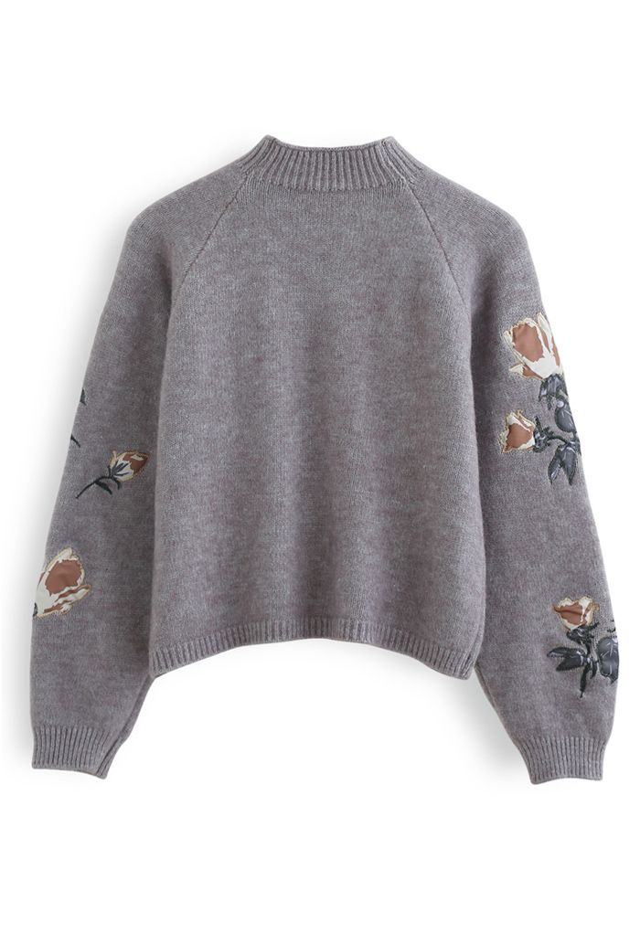 Digital Floral Print Embroidered Knit Sweater in Grey