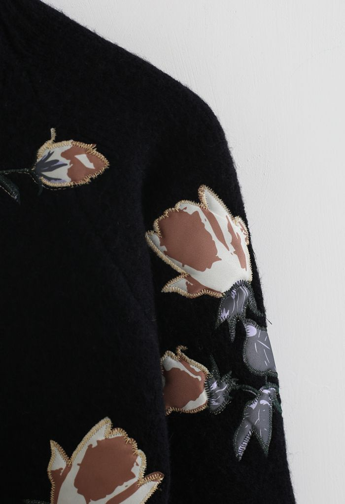 Digital Floral Print Embroidered Knit Sweater in Black