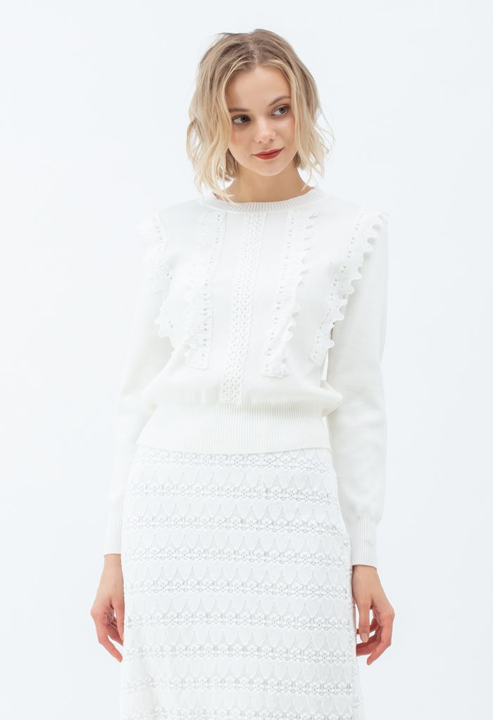 Crochet Front Ribbed Knit Sweater in White