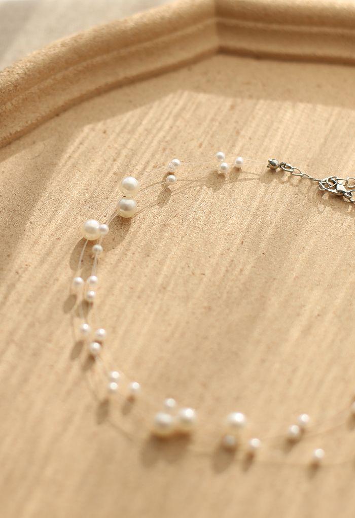 Triple Layer Pearls Choker
