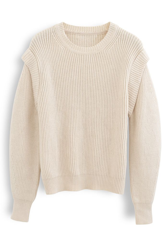 Soft Hue Round Neck Rib Knit Sweater in Cream