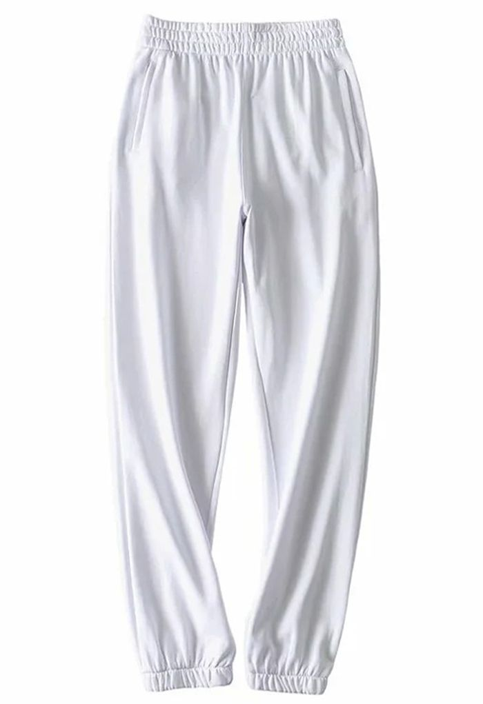 Zippered Side Pocket Joggers in White