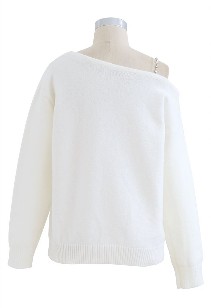 One-Shoulder Diamond Strap Knit Sweater in White