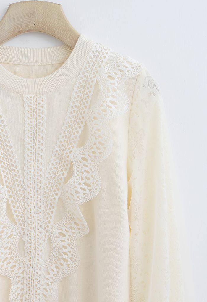 Lacy Front Mesh Sleeves Knit Top in Cream