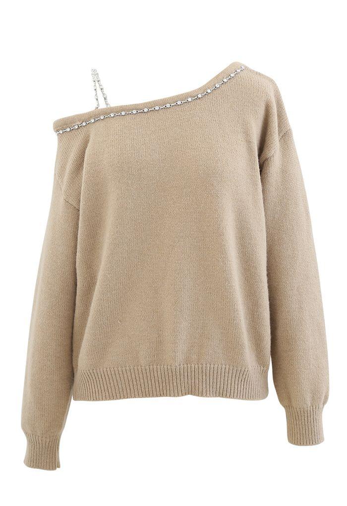One-Shoulder Diamond Strap Knit Sweater in Camel