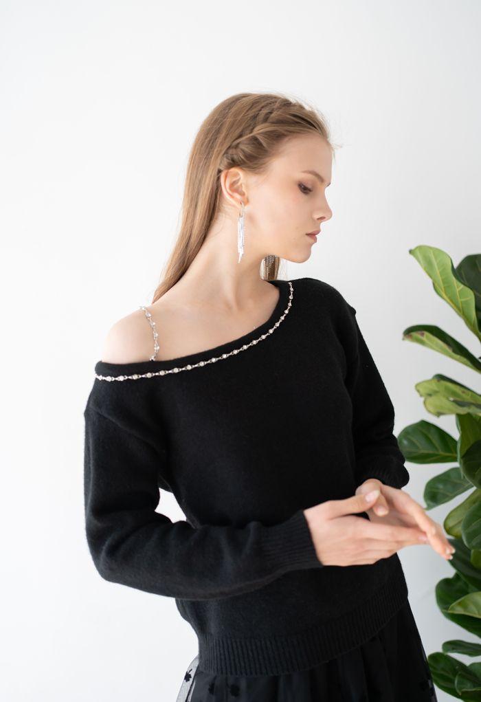 One-Shoulder Diamond Strap Knit Sweater in Black
