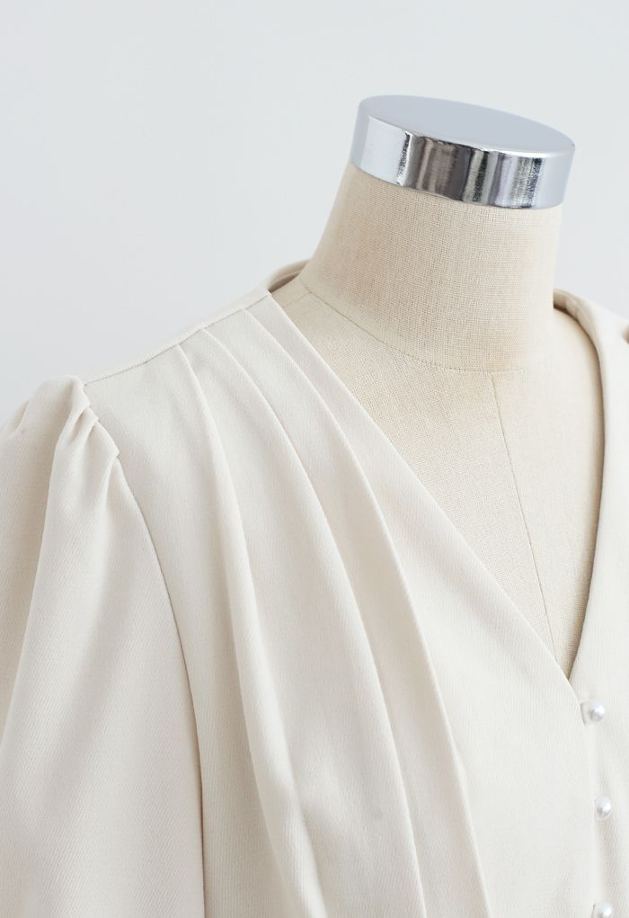 Pearl Button V-Neck Pleated Crop Top in Cream