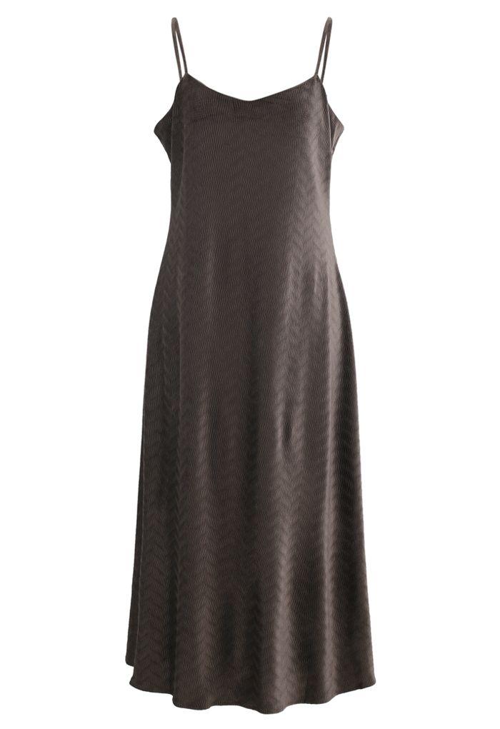 Wave Textured Velvet Cami Dress in Brown