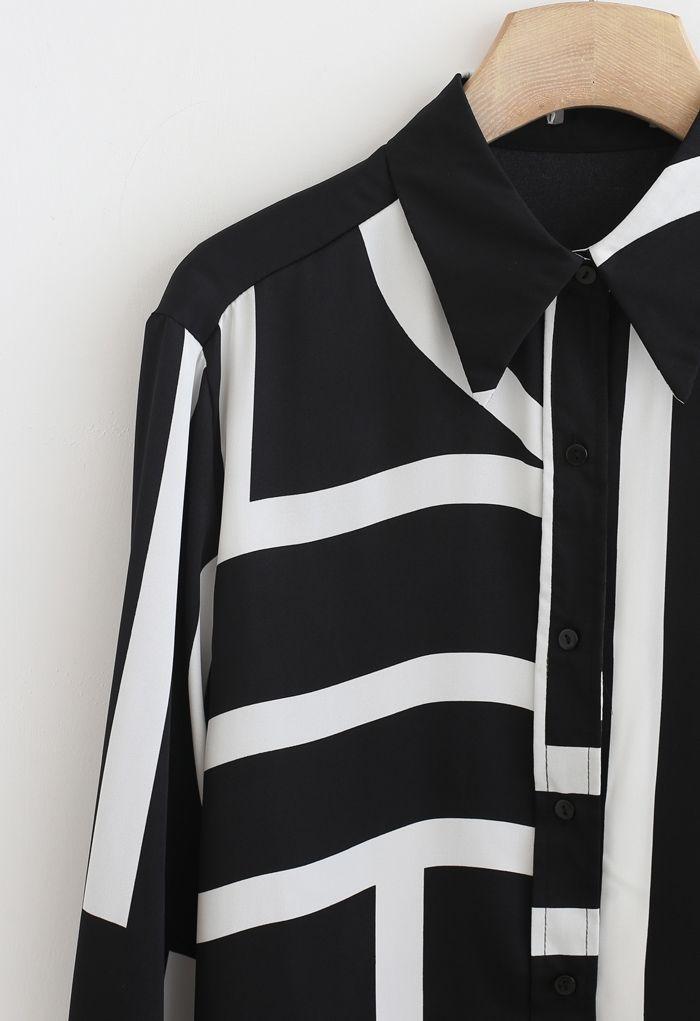 Mixed Stripe Hi-Lo Hem Shirt in Black