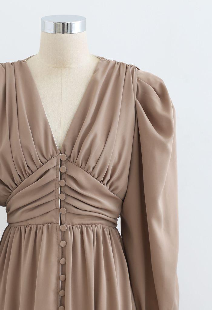 Puff Shoulder Ruched Button Down Chiffon Dress in Tan