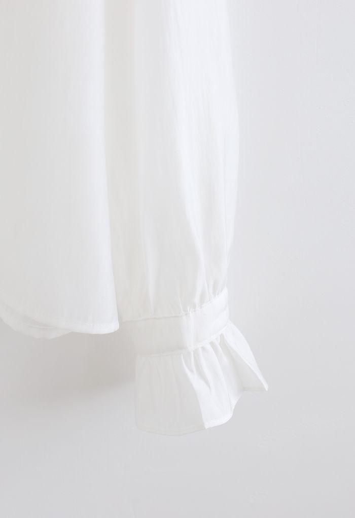 Semi-Sheer Ruffle Button Down Shirt in White