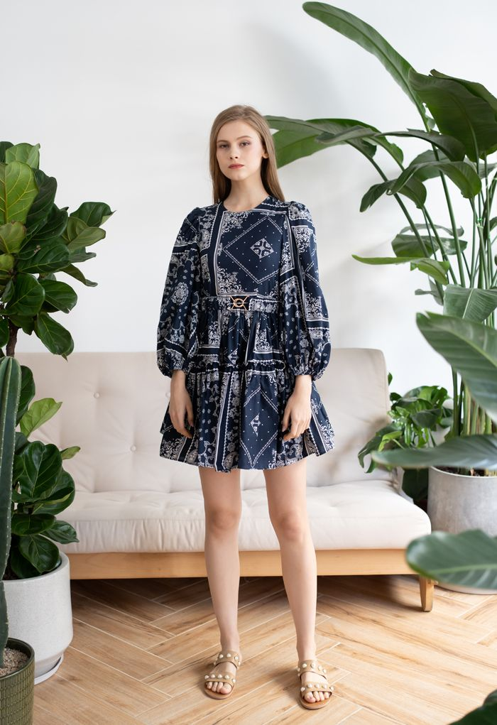 Puff Sleeves Belted Boho Dolly Dress in Navy