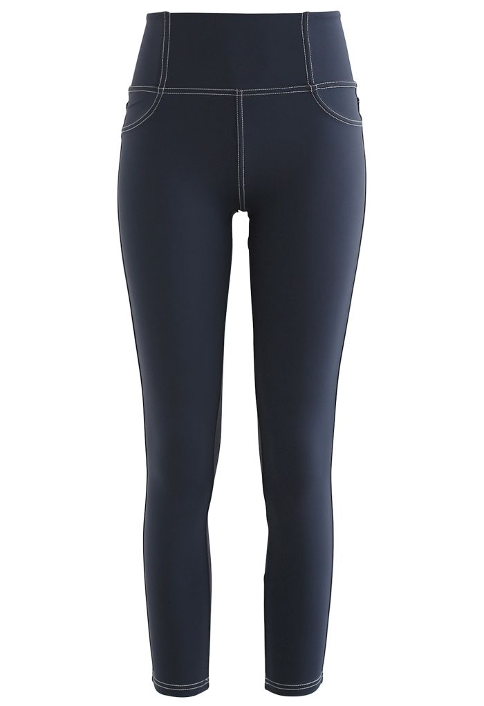 Seam Detail Back Patched Pocket Crop Leggings in Navy