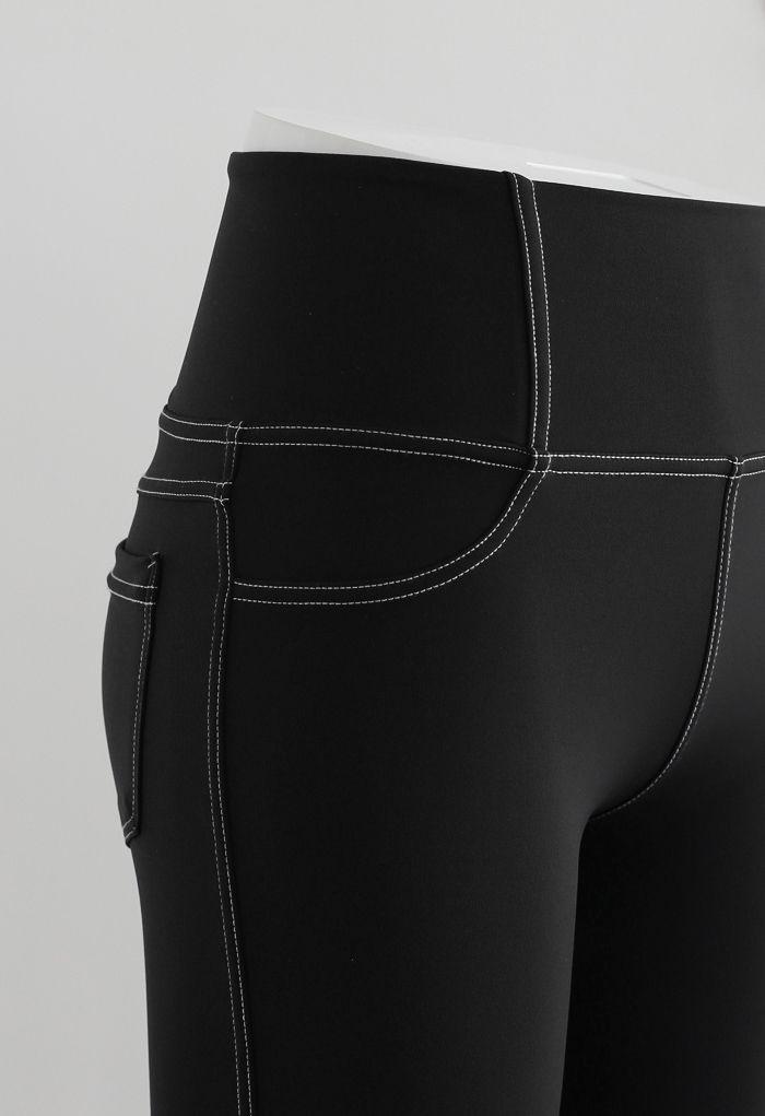 Seam Detail Back Patched Pocket Crop Leggings in Black