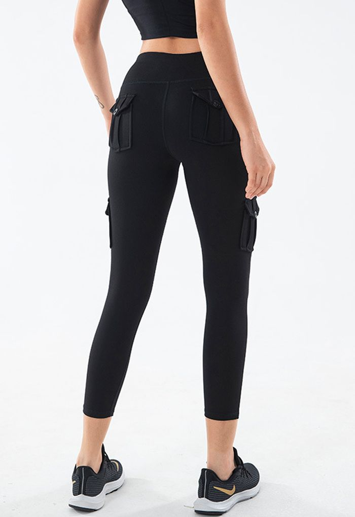 Buttoned Flap Pocket Seamed Cropped Leggings in Black