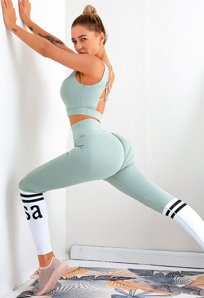 Lace-Up Back Sports Bra and Butt Lift Leggings Set in Pea Green