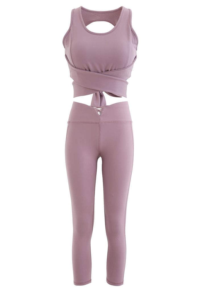 Open Back Bowknot Waist Sports Bra and Crop Leggings Sets in Lilac