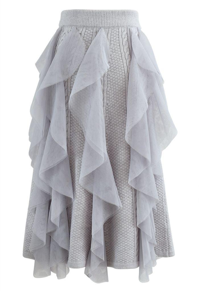Ruffle Mesh Trim Braid Knit Midi Skirt