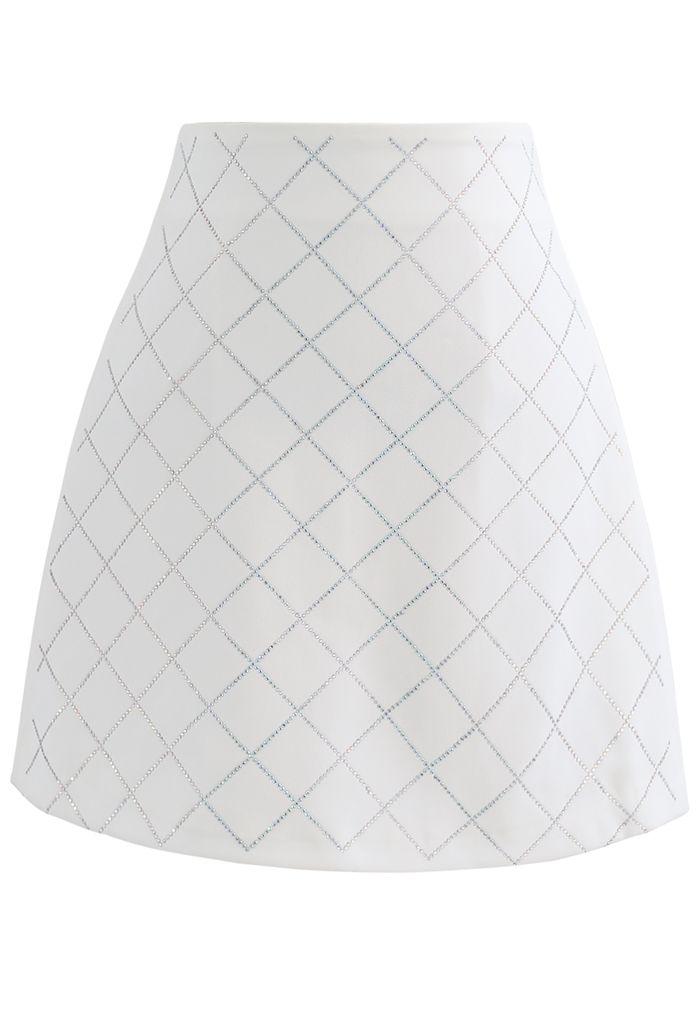 Flickering Diamond Shape Bud Skirt in Ivory