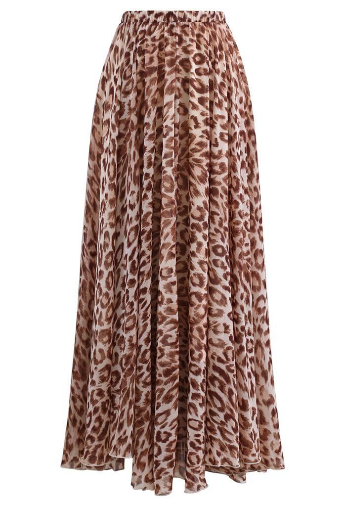 Animal Print Chiffon Maxi Skirt