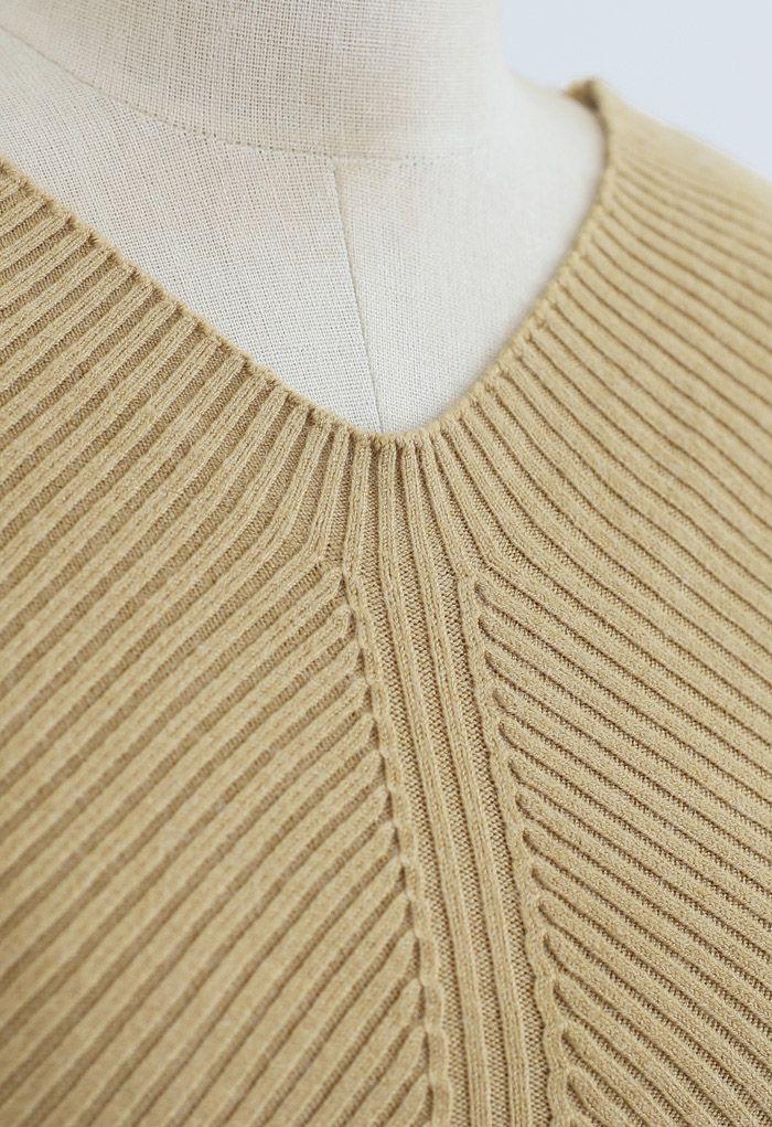 Seamless V-Neck Ribbed Knit Top in Camel