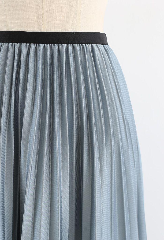 Pleated Sheen Flower Lace Hem Midi Skirt in Turquoise