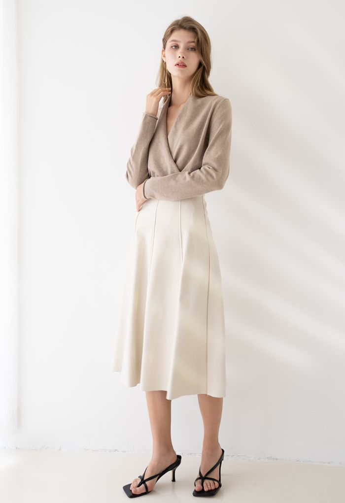 Soft Faux Leather Seamed A-Line Skirt in Ivory