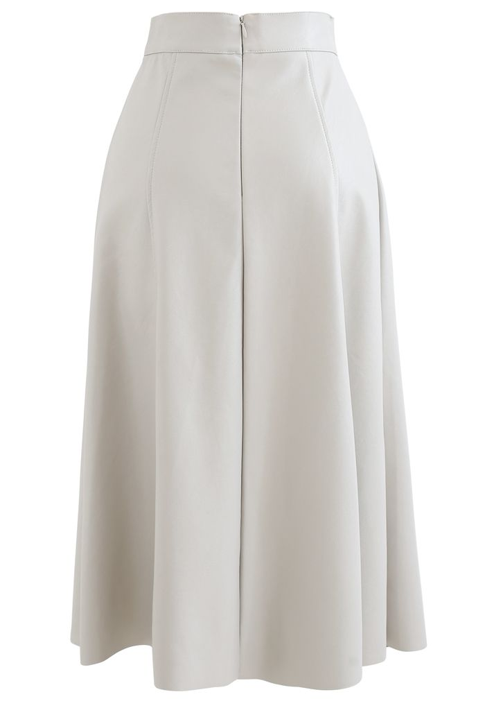 Buttoned Soft Faux Leather A-Line Skirt in Ivory