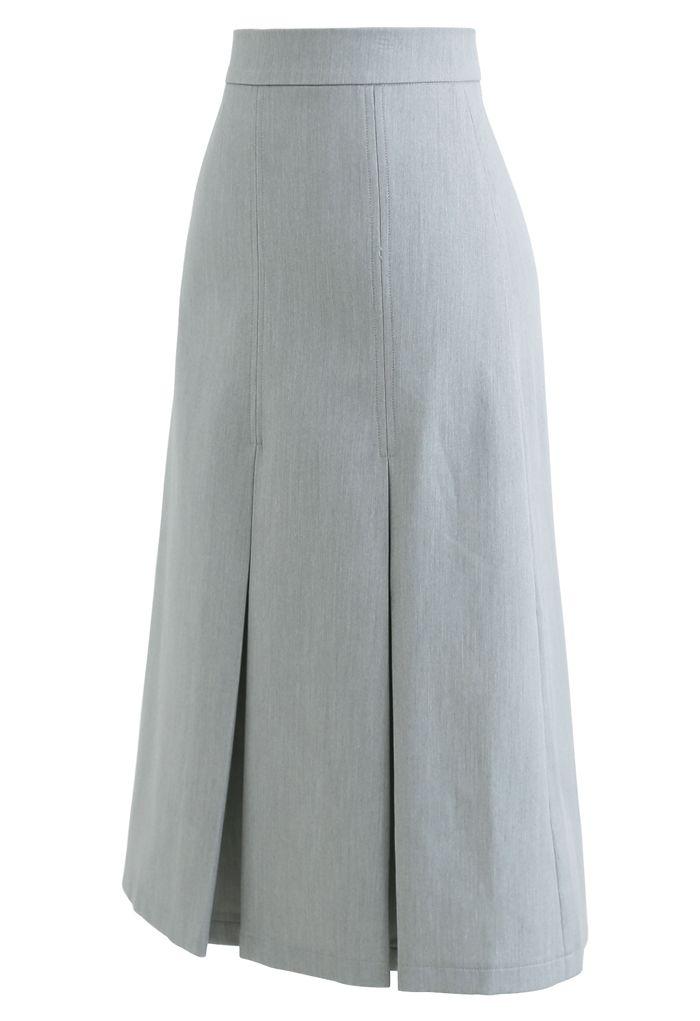 Pleated Hem Split Midi Skirt in Grey