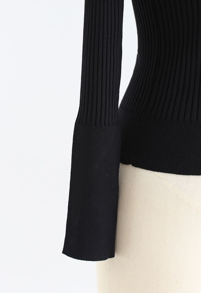 Mesh Shoulder Buttoned Fitted Knit Top in Black