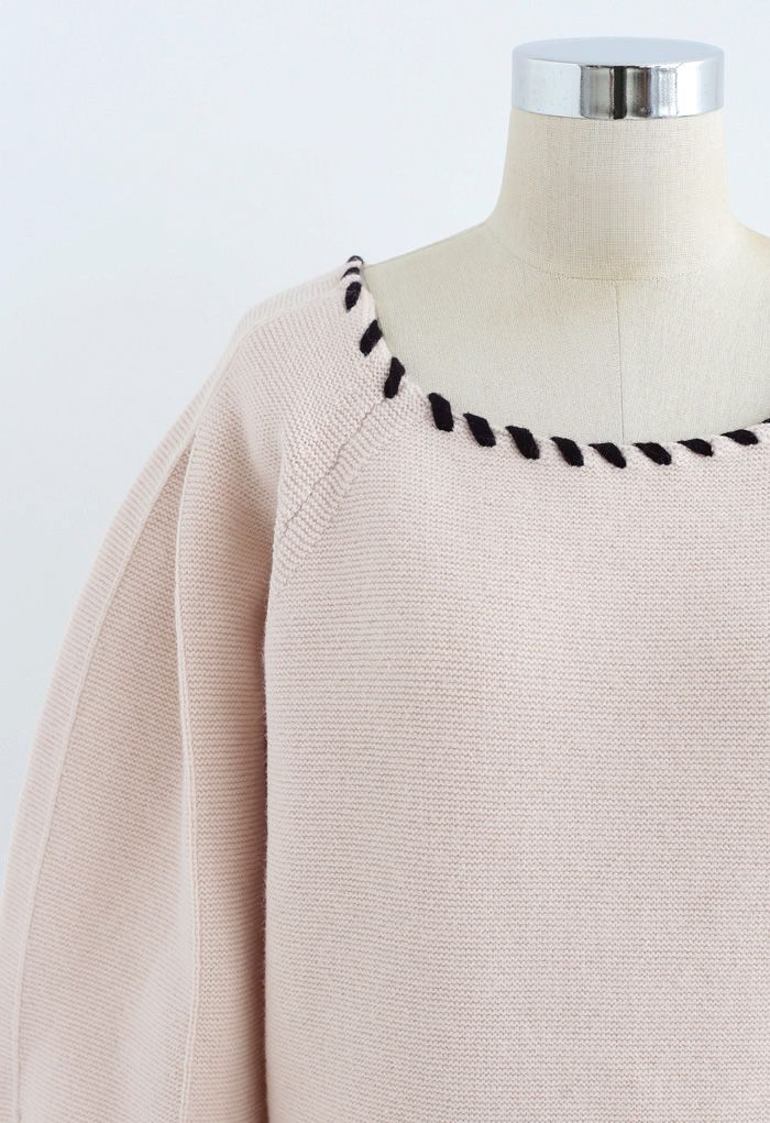 Braid Edge Bowknot Puff Sleeves Sweater in Nude Pink