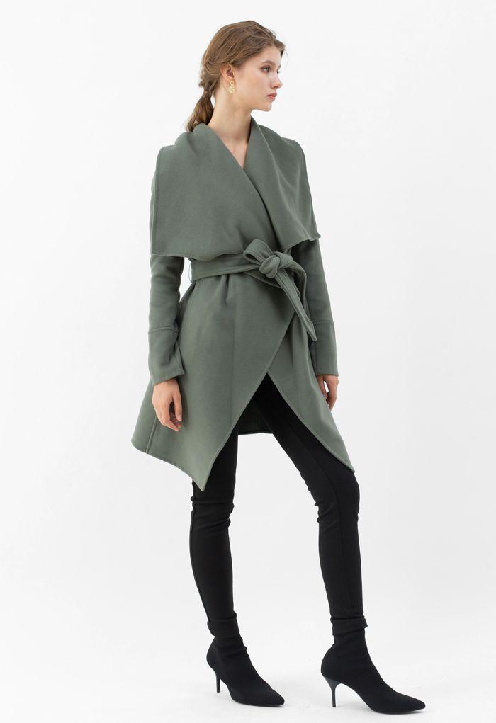Wide Lapel Tie Belt Wrapped Wool-Blend Coat in Olive