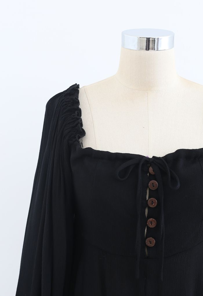 Square Neck Buttoned Asymmetric Mini Dress in Black