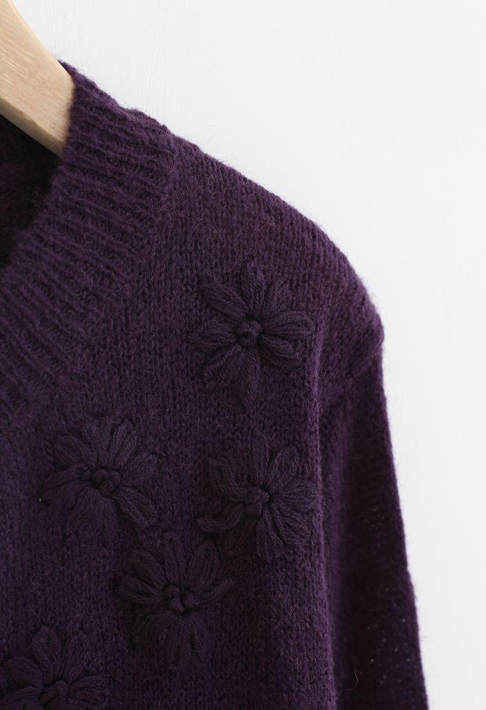 Cardigan en tricot à fleurs délicates en violet