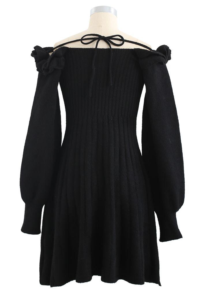 Ruffle Square Neck Knit Midi Dress in Black