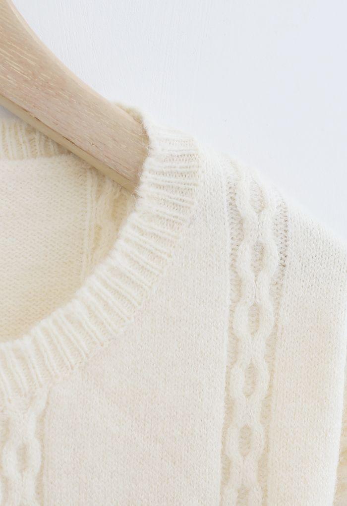Chain Pattern Button Down Knit Cardigan in Cream