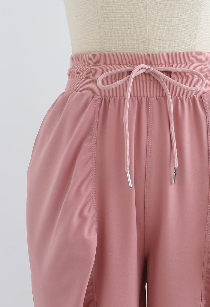 Drawstring Waist Ruched Detail Joggers in Dusty Pink