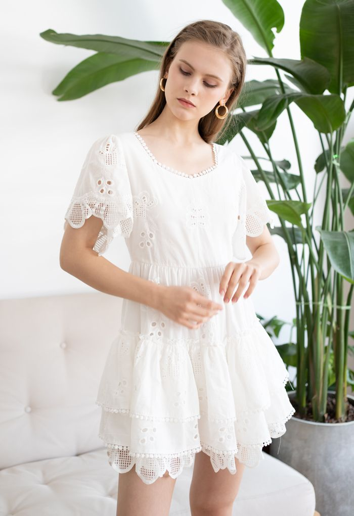 Sweetheart Neck Embroidered Eyelet Cotton Dress