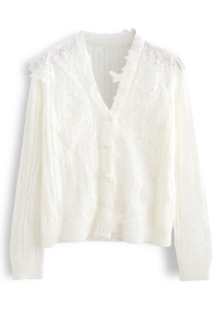 Mesh Floral Hollow Out Braid Knit Top