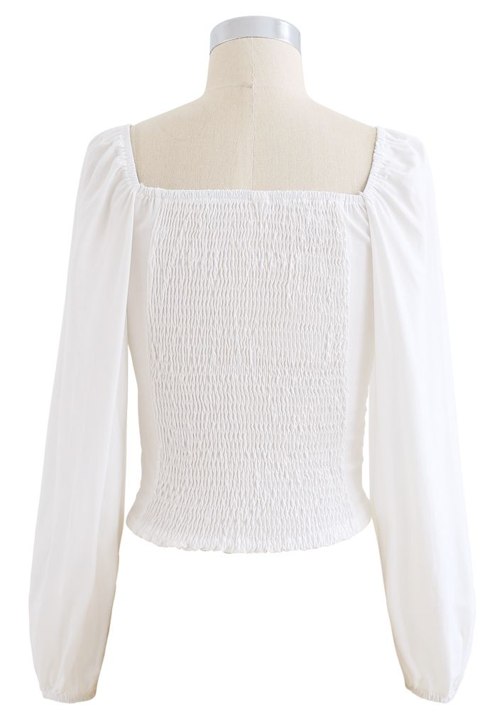 Twist Front Shirred Back Crop Top in White