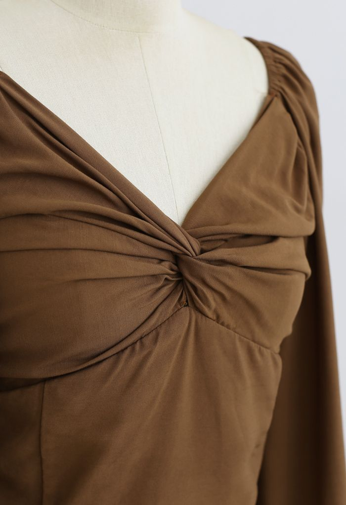 Twist Front Shirred Back Crop Top in Brown