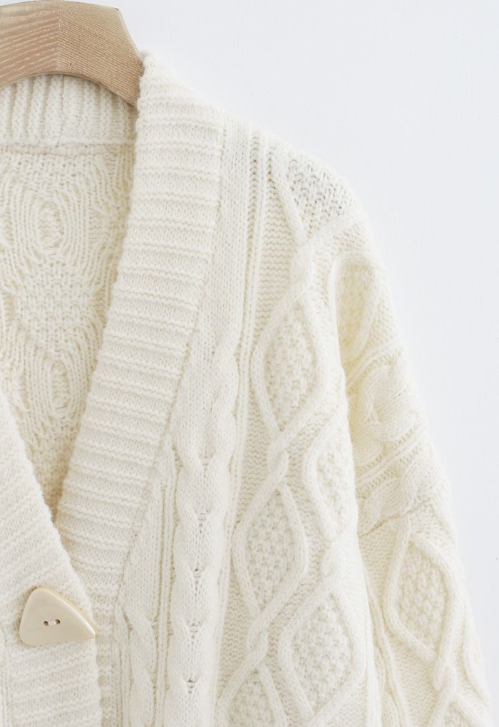Irregular Button Pocket Braid Cardigan in Ivory