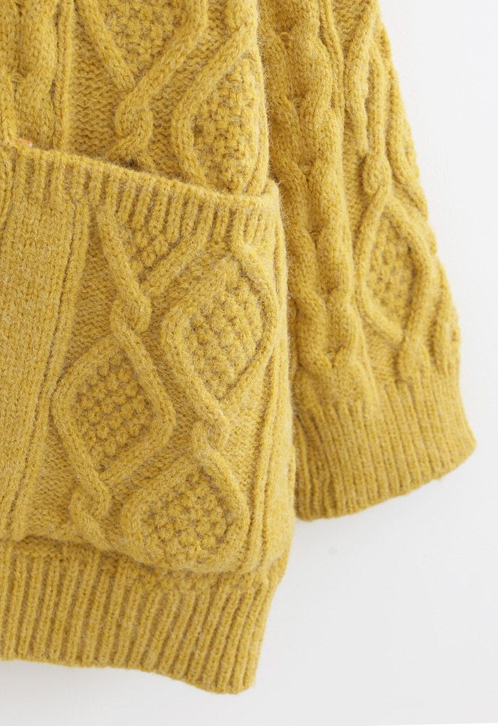 Irregular Button Pocket Braid Cardigan in Mustard