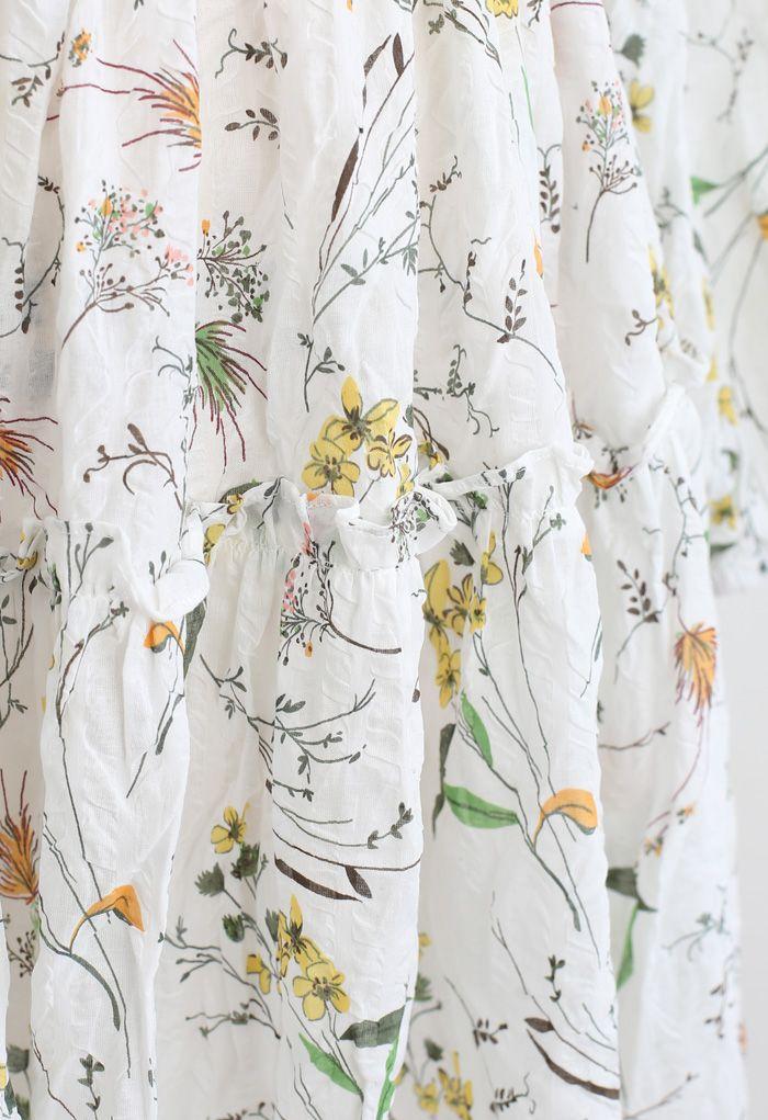 Wild Flowers Printed Texture Cotton Dress