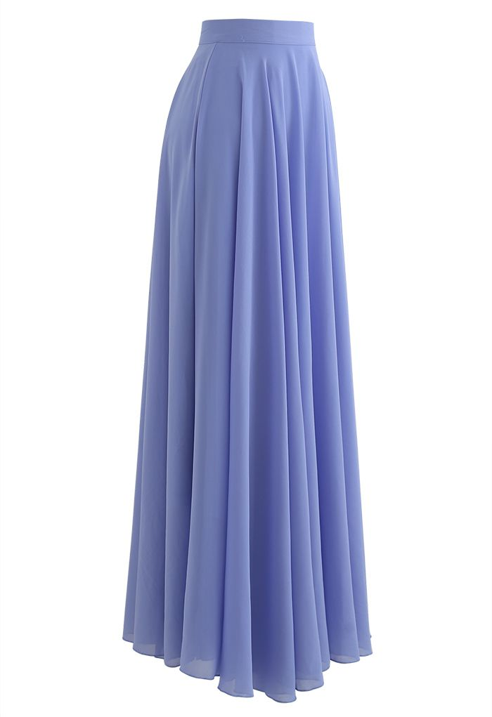 Timeless Favorite Chiffon Maxi Skirt in Light Blue