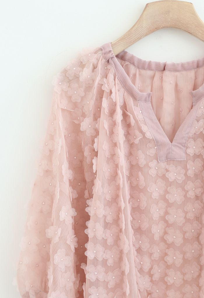 3D Clover Sheer Puff Sleeves V-Neck Top in Pink