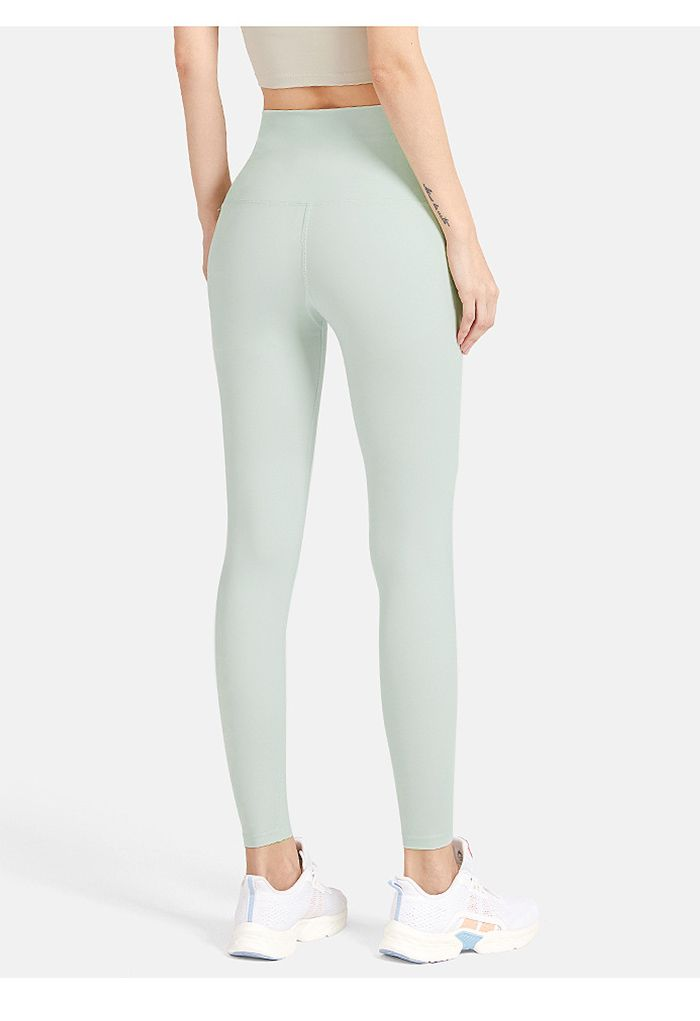 High Waisted Hook and Eye Fastening Leggings in Pistachio